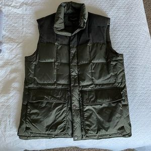 Olive green puff vest